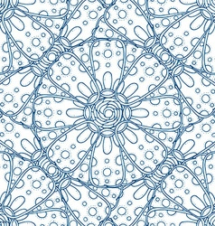 Blue hand drawn floral design vector