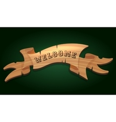 Wooden signboard welcome vector