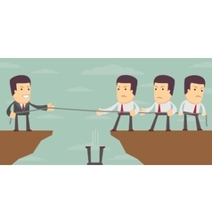 Abstract Businessmen Tug of war on a cliff vector image