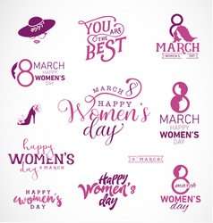 Womens day typographical design elements vector