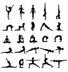 Women silhouettes collection of yoga poses asana vector