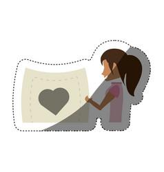 Woman romance holding card heart shadow vector