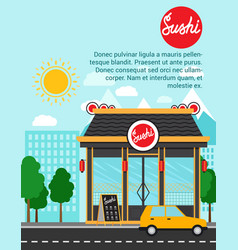 Sushi advertising banner with shop building vector