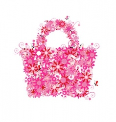 Floral shopping bag vector