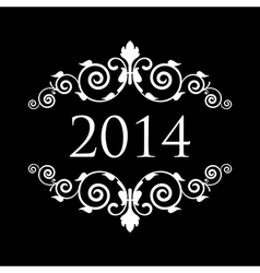 2014 vintage black and white vector image