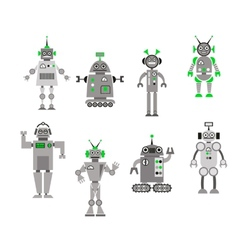 Set of abstract cartoon robots vector