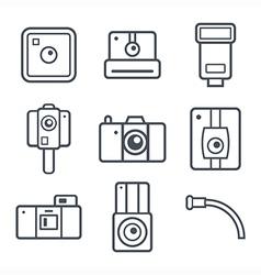 Icons retro photo camera vector