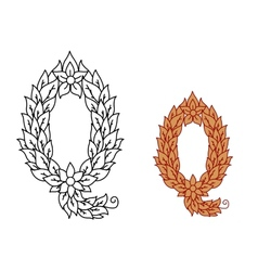 Letter q in a foliate font vector