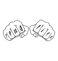 Gangster fists with thug life fingers tattoo vector
