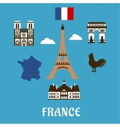 France flat travel and landmark icons vector