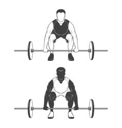 Weightlifting athlete lifting a barbell vector