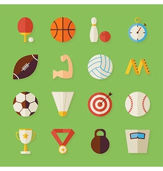 Flat sport recreation and competition objects set vector