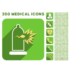 Sperm escape condom icon and medical longshadow vector