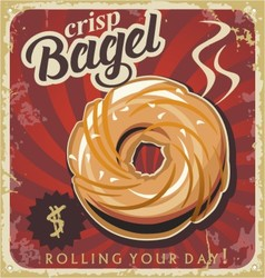 Retro pastry sign bakery bagel vector