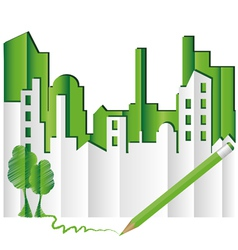 abstract green city vector image vector image
