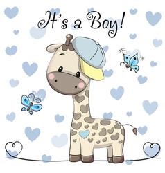 Baby shower greeting card with cute giraffe boy vector