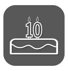 Birthday cake with candles number 10 vector