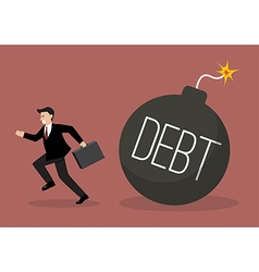 Businessman run away from debt bomb vector image vector image