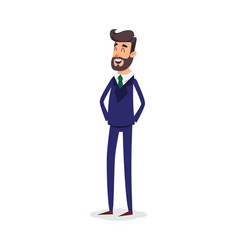 Cartoon successful businesman in suit young vector
