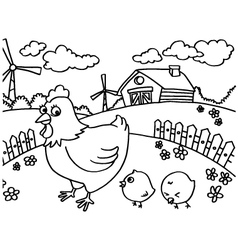 Chicken coloring pages vector