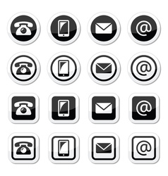 Contact icons in circle and square set - mobile p vector image