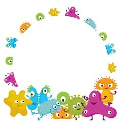 Cute germ characters frame and border vector