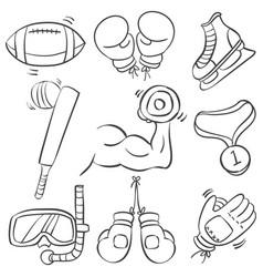 Doodle sport equipment hand draw vector