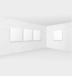 Empty white mock up posters pictures frames vector