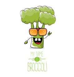 Funny cartoon cute green broccoli character vector