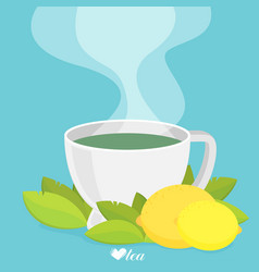 green tea with lemon flat vector image vector image