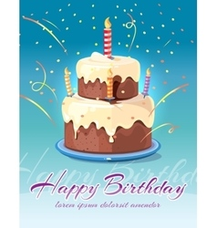 Happy birthday background with tasty cake and vector image vector image