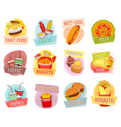 icons for fast food menu design vector image