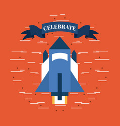 Independence day rocket celebrate image vector