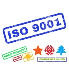 Iso 9001 rubber stamp vector