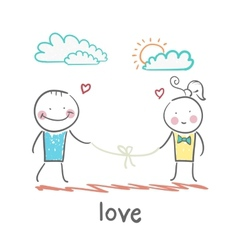 loving girl and the guy holding the thread vector image