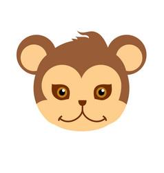 Monkey carnival mask brown primate ape babbon vector