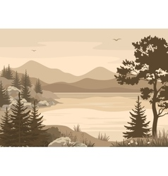 Mountains Landscapes Lake Trees and Birds vector image