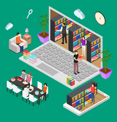 online reading isometric view vector image vector image