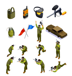 paintball isometric elements set vector image vector image