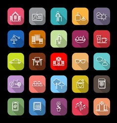 Retirement community line icons with long shadow vector