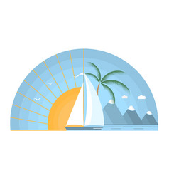 sea sunrise with sailboat mountains and palm tree vector image