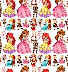 Seamless female characters from fairytales vector