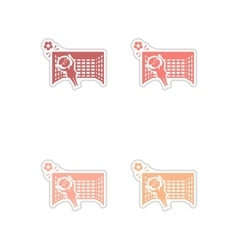 Set of paper stickers on white background soccer vector