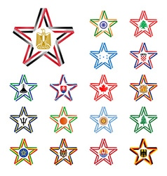 Set of stars made of ribbons with egypt india vector
