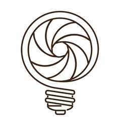 Silhouette light bulb flat icon with spiral shape vector