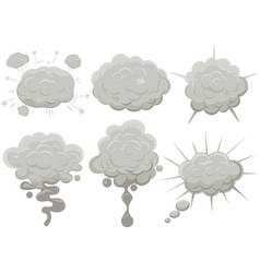 smoke cloud set explosion dust puff cartoon frame vector image