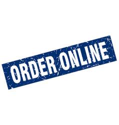 Square grunge blue order online stamp vector