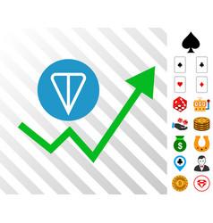 Ton growing trend icon with bonus vector