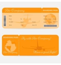 Variant of airline boarding pass orange ticket vector