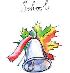 Watercolor school bell vector